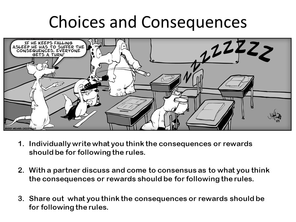 Choices and Consequences 1.Individually write what you think the consequences or rewards should be for following the rules.