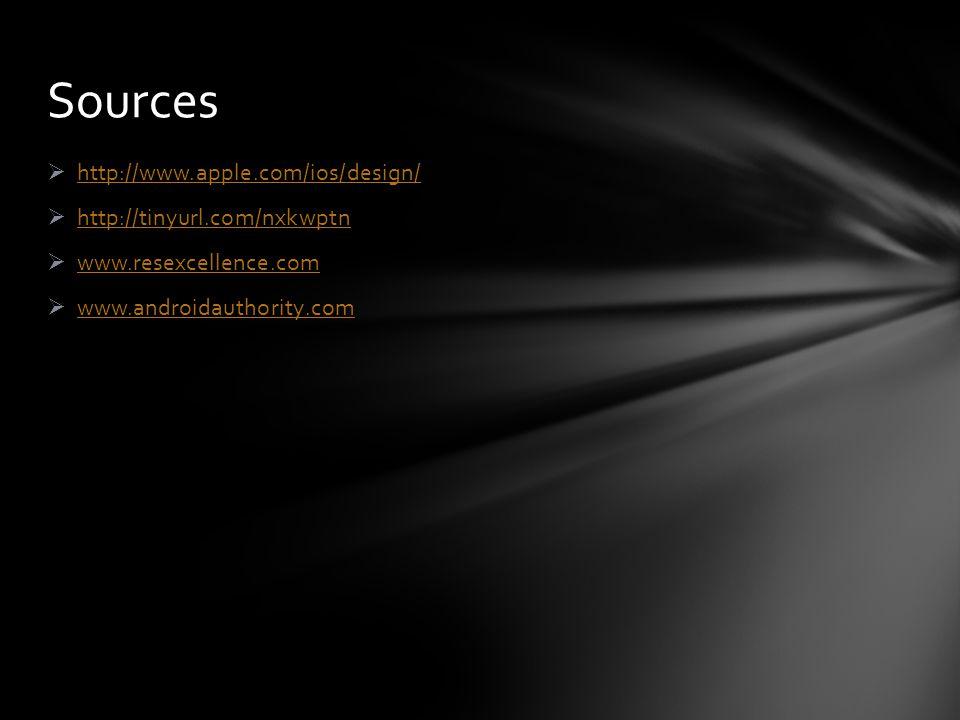  http://www.apple.com/ios/design/ http://www.apple.com/ios/design/  http://tinyurl.com/nxkwptn http://tinyurl.com/nxkwptn  www.resexcellence.com www.resexcellence.com  www.androidauthority.com www.androidauthority.com Sources