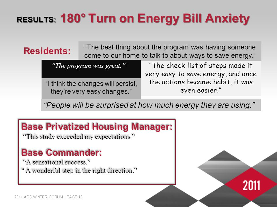 2011 ADC WINTER FORUM | PAGE 12 RESULTS: 180° Turn on Energy Bill Anxiety Residents: The check list of steps made it very easy to save energy, and once the actions became habit, it was even easier. The best thing about the program was having someone come to our home to talk to about ways to save energy. The program was great. Base Privatized Housing Manager: This study exceeded my expectations. Base Commander: A sensational success. A wonderful step in the right direction. Base Privatized Housing Manager: This study exceeded my expectations. Base Commander: A sensational success. A wonderful step in the right direction. I think the changes will persist, they're very easy changes. People will be surprised at how much energy they are using.