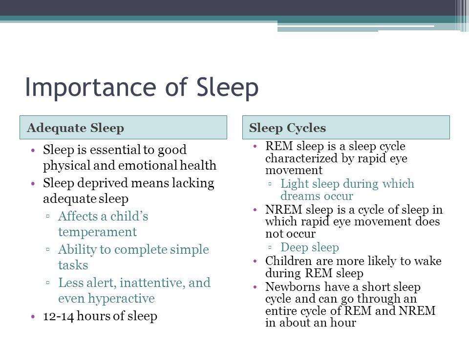 Importance of Sleep Adequate SleepSleep Cycles Sleep is essential to good physical and emotional health Sleep deprived means lacking adequate sleep ▫A