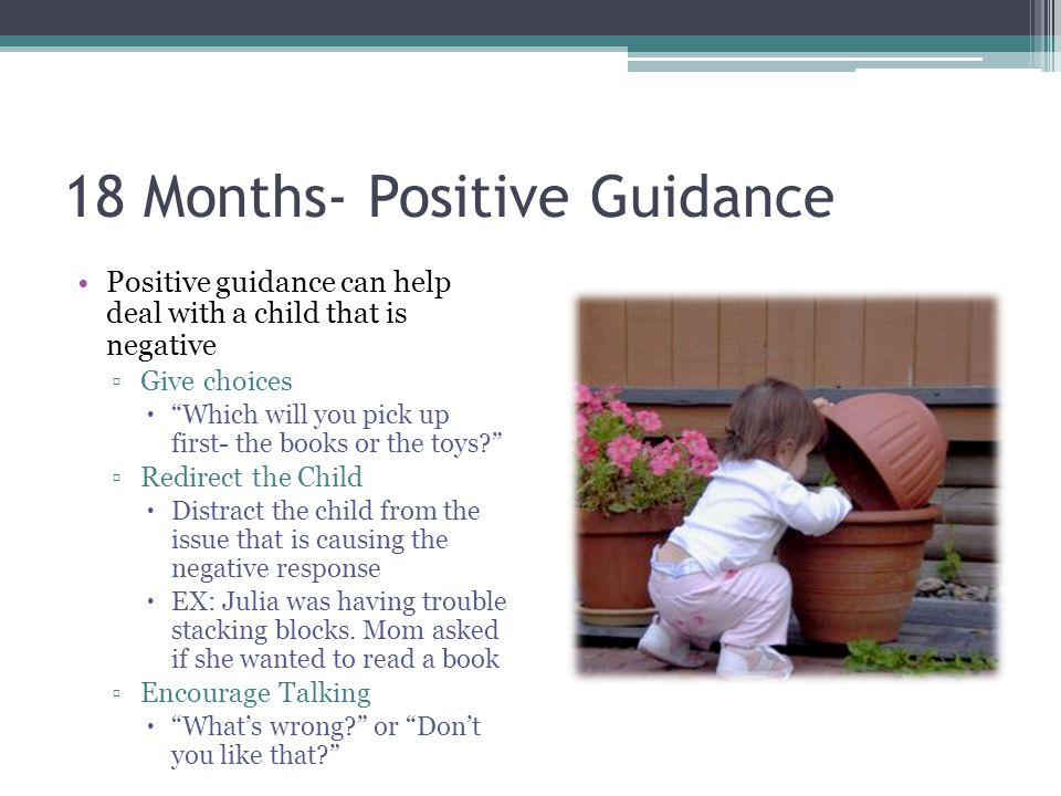 """18 Months- Positive Guidance Positive guidance can help deal with a child that is negative ▫Give choices  """"Which will you pick up first- the books or"""