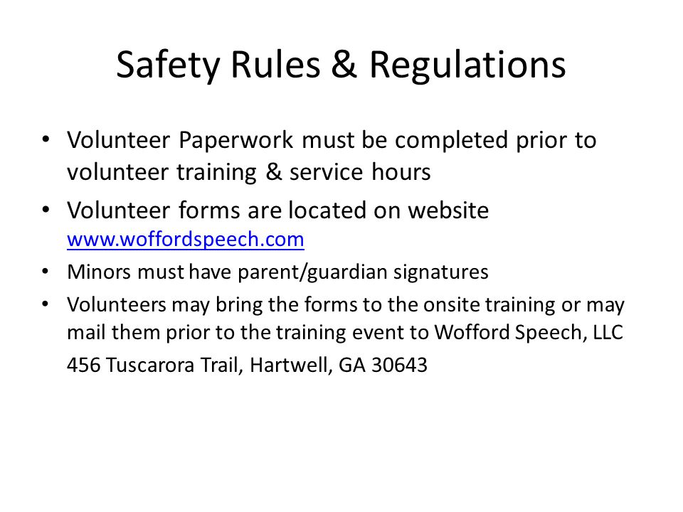 Volunteer/Intern Responsibilities All Volunteers/Interns should arrive at the barn ready to work at least 20 minutes before the scheduled session.
