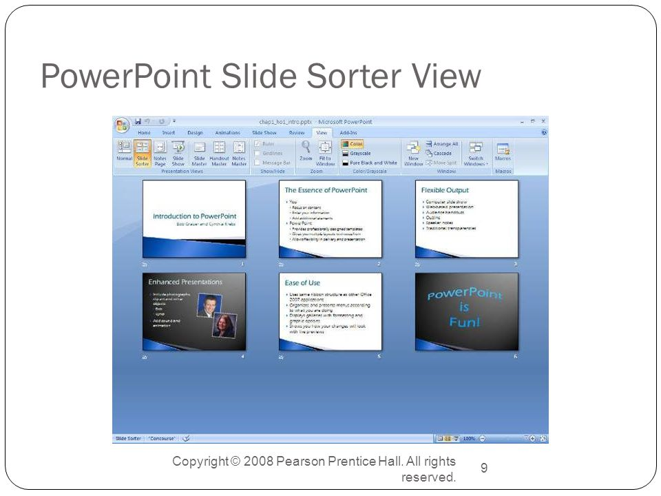 Copyright © 2008 Pearson Prentice Hall. All rights reserved. 9 PowerPoint Slide Sorter View