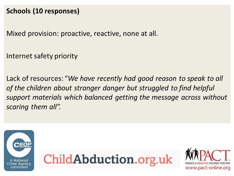 Schools (10 responses) Mixed provision: proactive, reactive, none at all.