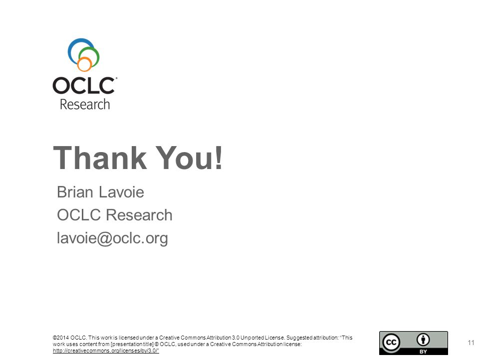 Thank You. ©2014 OCLC.