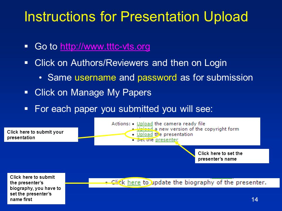13 Schedule  Deadline to submit file: April 10 Provides time to get presentation into database and check slides Improvement possible if necessary