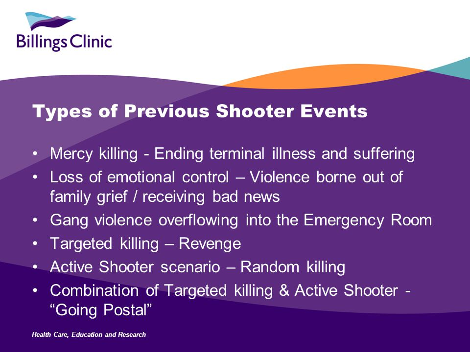 Health Care, Education and Research Types of Previous Shooter Events Mercy killing - Ending terminal illness and suffering Loss of emotional control –
