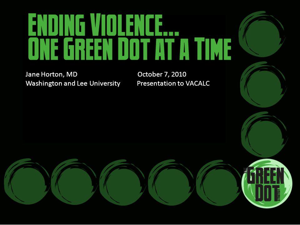 Jane Horton, MD October 7, 2010 Washington and Lee University Presentation to VACALC