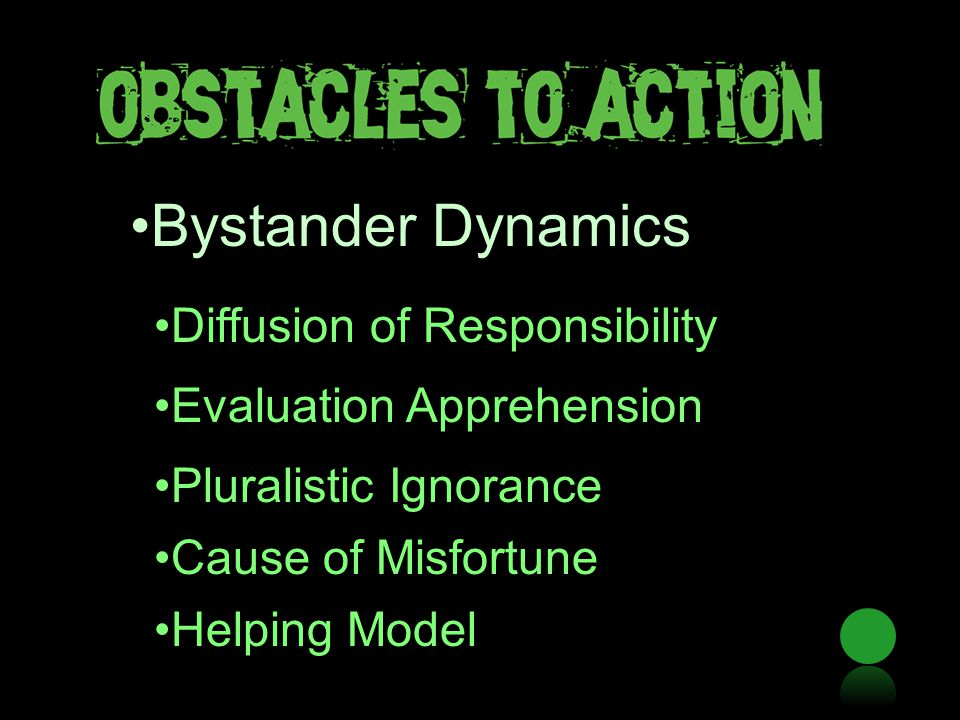 Bystander Dynamics Diffusion of Responsibility Evaluation Apprehension Pluralistic Ignorance Cause of Misfortune Helping Model