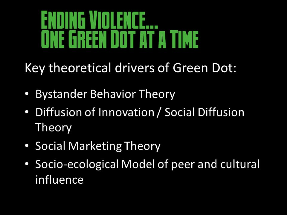 Key theoretical drivers of Green Dot: Bystander Behavior Theory Diffusion of Innovation / Social Diffusion Theory Social Marketing Theory Socio-ecological Model of peer and cultural influence