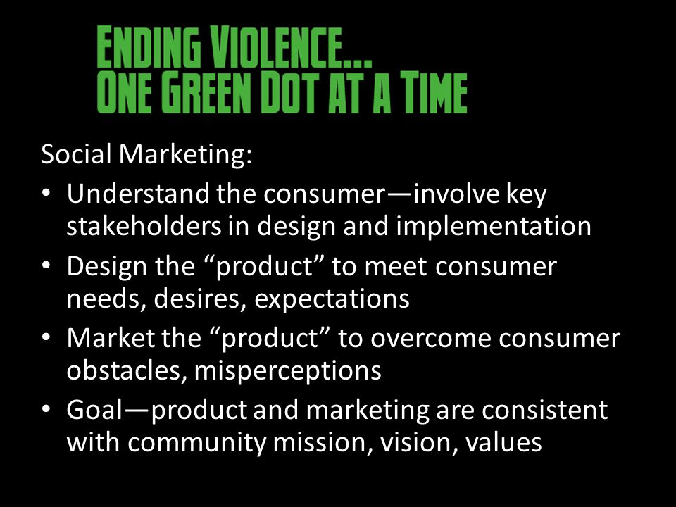 Social Marketing: Understand the consumer—involve key stakeholders in design and implementation Design the product to meet consumer needs, desires, expectations Market the product to overcome consumer obstacles, misperceptions Goal—product and marketing are consistent with community mission, vision, values