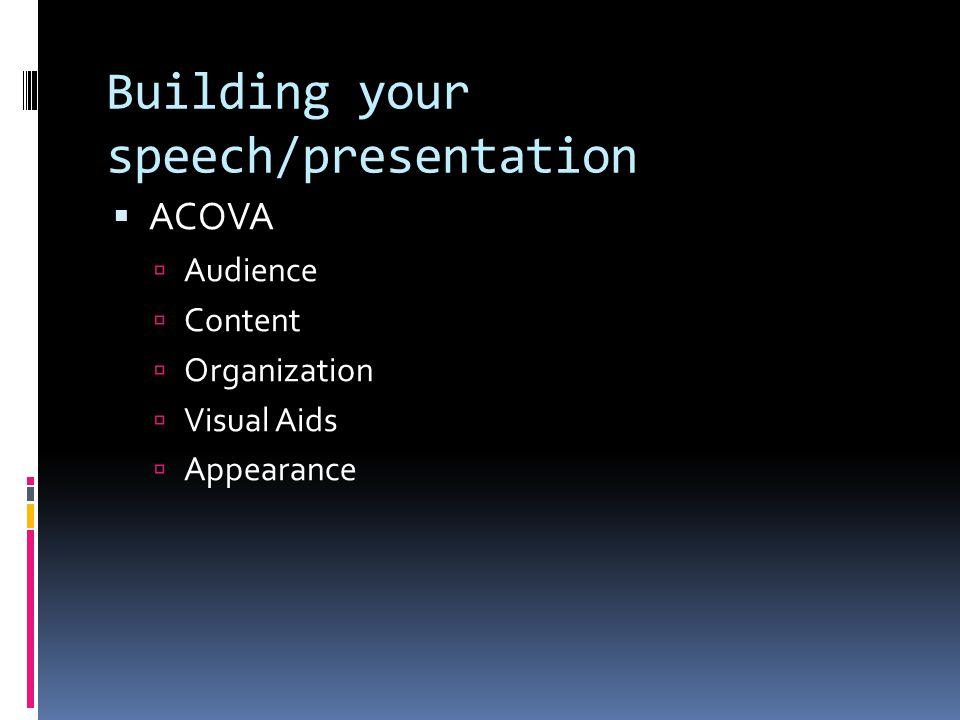 Building your speech/presentation  ACOVA  Audience  Content  Organization  Visual Aids  Appearance