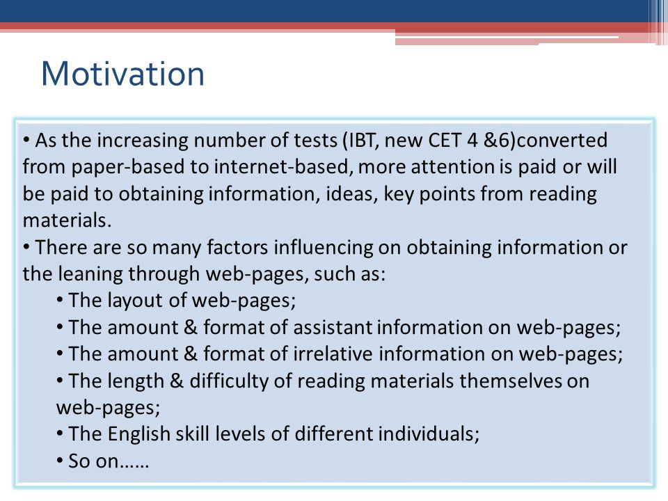 5 Investigate the factors that contribute to the effectiveness of learning through web-pages; Figure out the way to build a easy-to-learn web learning system; Enhance the effectiveness and efficiency of web learning.