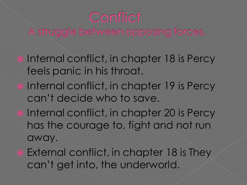  Internal conflict, in chapter 18 is Percy feels panic in his throat.