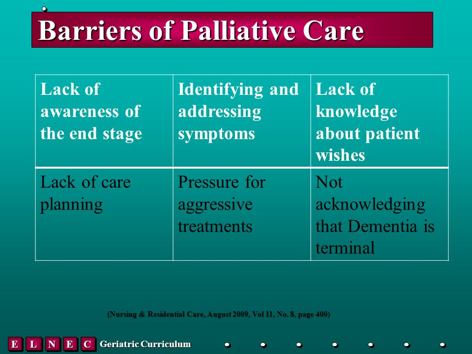 EELLNNEECC Geriatric Curriculum Barriers of Palliative Care Lack of awareness of the end stage Identifying and addressing symptoms Lack of knowledge about patient wishes Lack of care planning Pressure for aggressive treatments Not acknowledging that Dementia is terminal (Nursing & Residential Care, August 2009, Vol 11, No.