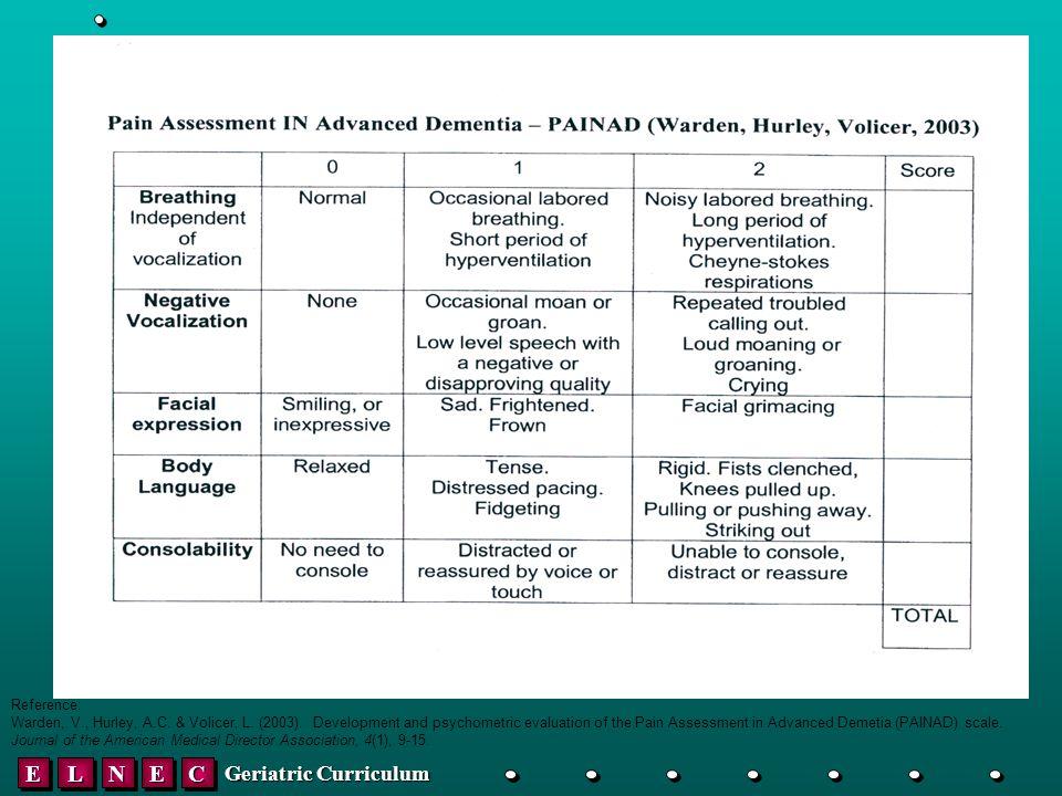 EELLNNEECC Geriatric Curriculum Reference: Warden, V., Hurley, A.C.
