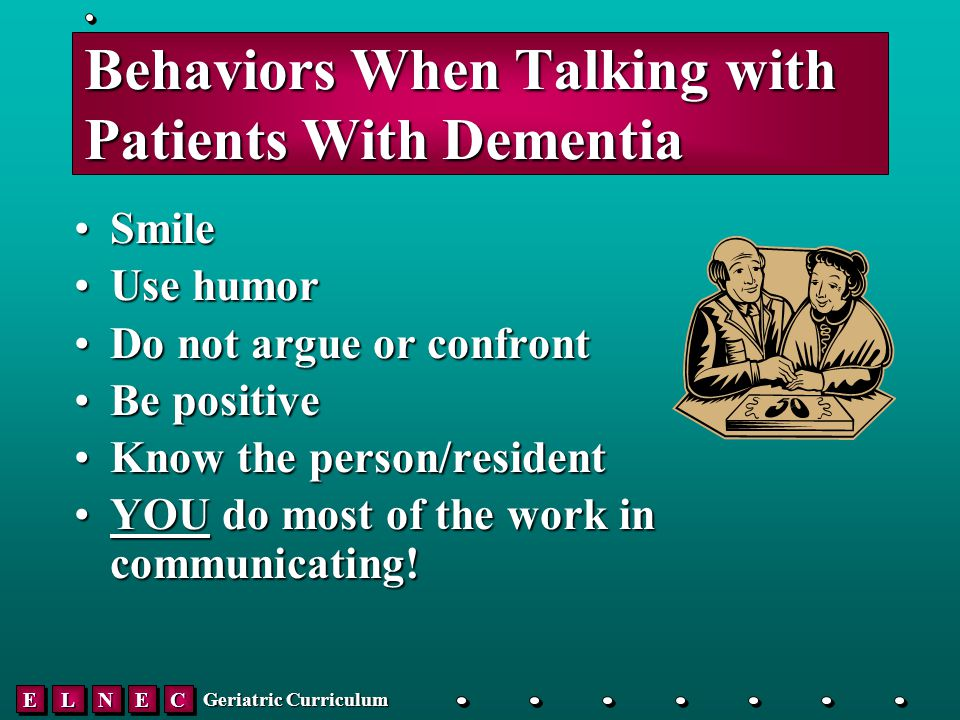 EELLNNEECC Geriatric Curriculum Behaviors When Talking with Patients With Dementia SmileSmile Use humorUse humor Do not argue or confrontDo not argue or confront Be positiveBe positive Know the person/residentKnow the person/resident YOU do most of the work in communicating!YOU do most of the work in communicating!