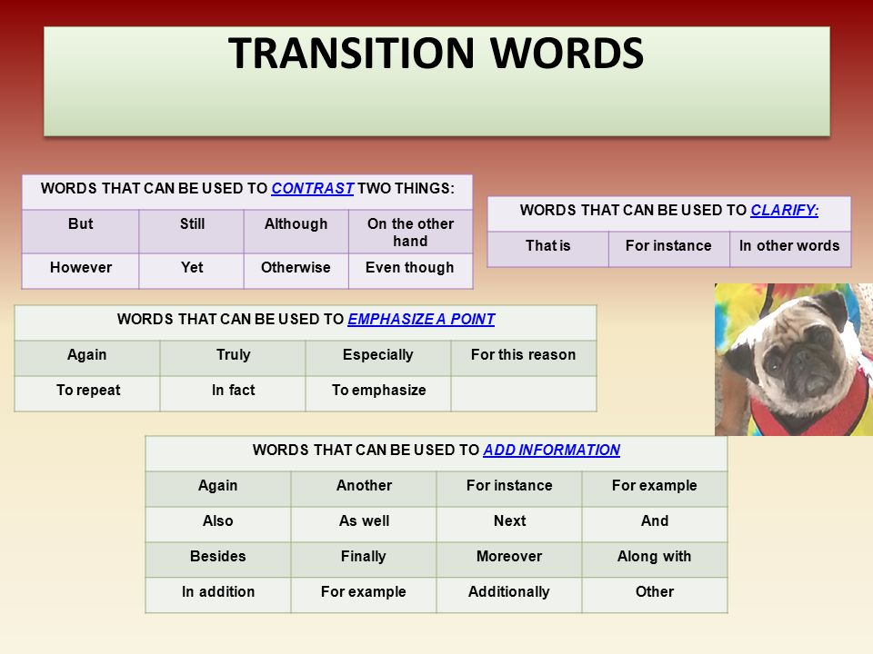 TRANSITION WORDS WORDS THAT CAN BE USED TO SHOW LOCATION: AboveAcrossAgainstAlongAmongAroundBehindBelowBeneath BesideBetweenBeyondByDownIn back ofIn f