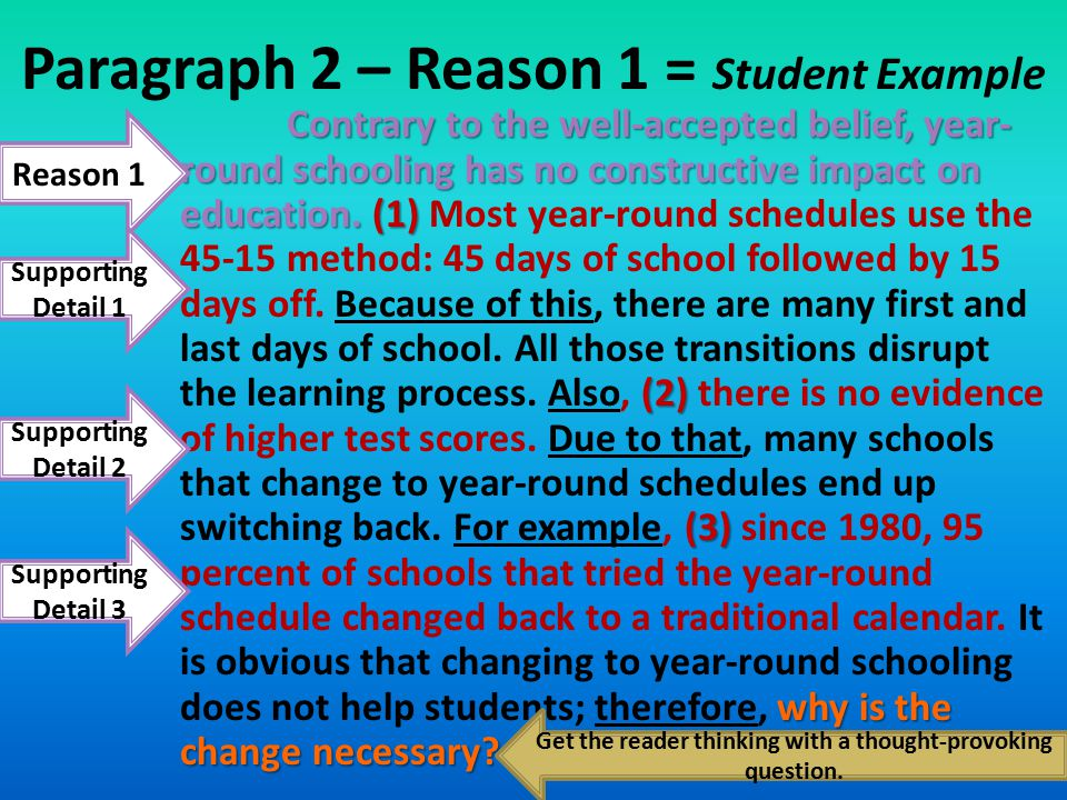 School Year-Round: 45 days on and 15 days off, or 10 months on and 2 months off Student Example – INTRODUCTION paragraph Schools should continue using