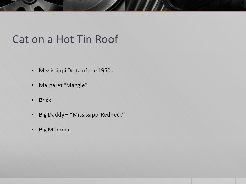 Cat on a Hot Tin Roof Mississippi Delta of the 1950s Margaret Maggie Brick Big Daddy – Mississippi Redneck Big Momma