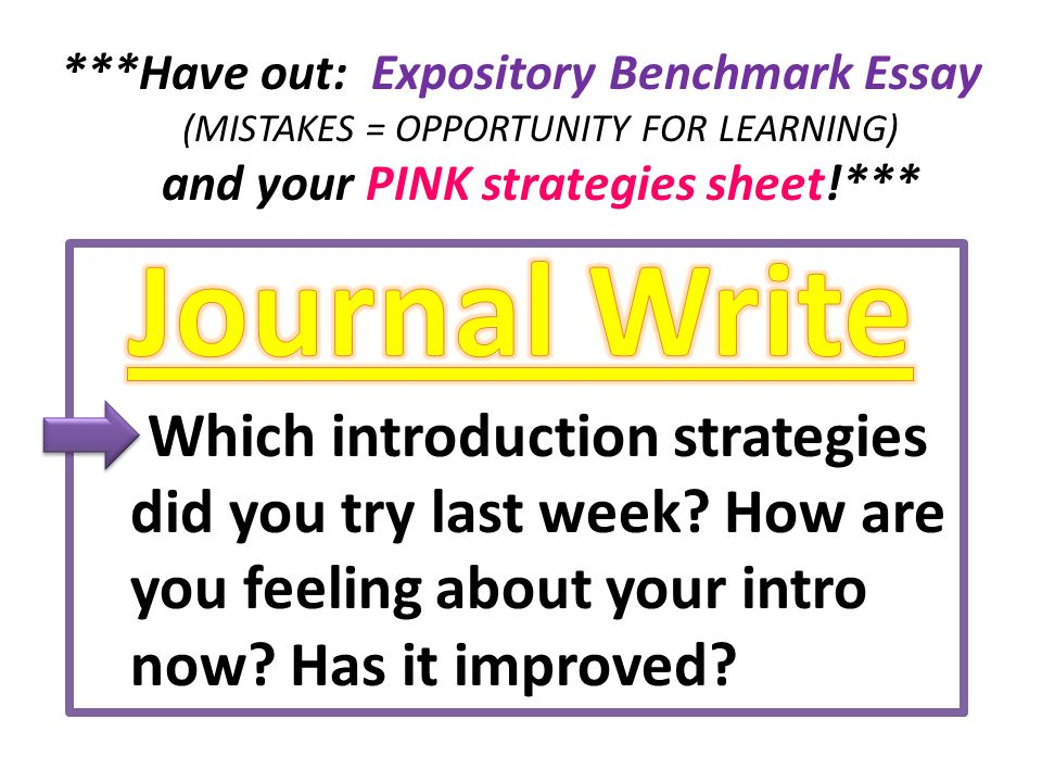 ***Have out: Expository Benchmark Essay (MISTAKES = OPPORTUNITY FOR LEARNING) and your PINK strategies sheet!*** – Which introduction strategies did you try last week.