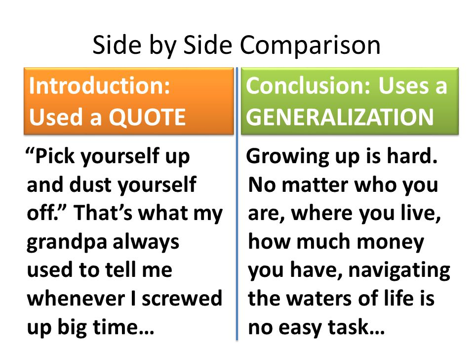 Side by Side Comparison Introduction: Used a QUOTE Pick yourself up and dust yourself off. That's what my grandpa always used to tell me whenever I screwed up big time… Conclusion: Uses a GENERALIZATION Growing up is hard.