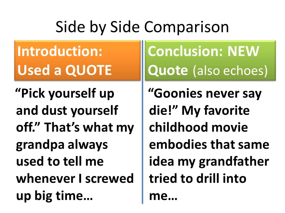 Side by Side Comparison Introduction: Used a QUOTE Pick yourself up and dust yourself off. That's what my grandpa always used to tell me whenever I screwed up big time… Conclusion: NEW Quote (also echoes) Goonies never say die! My favorite childhood movie embodies that same idea my grandfather tried to drill into me…