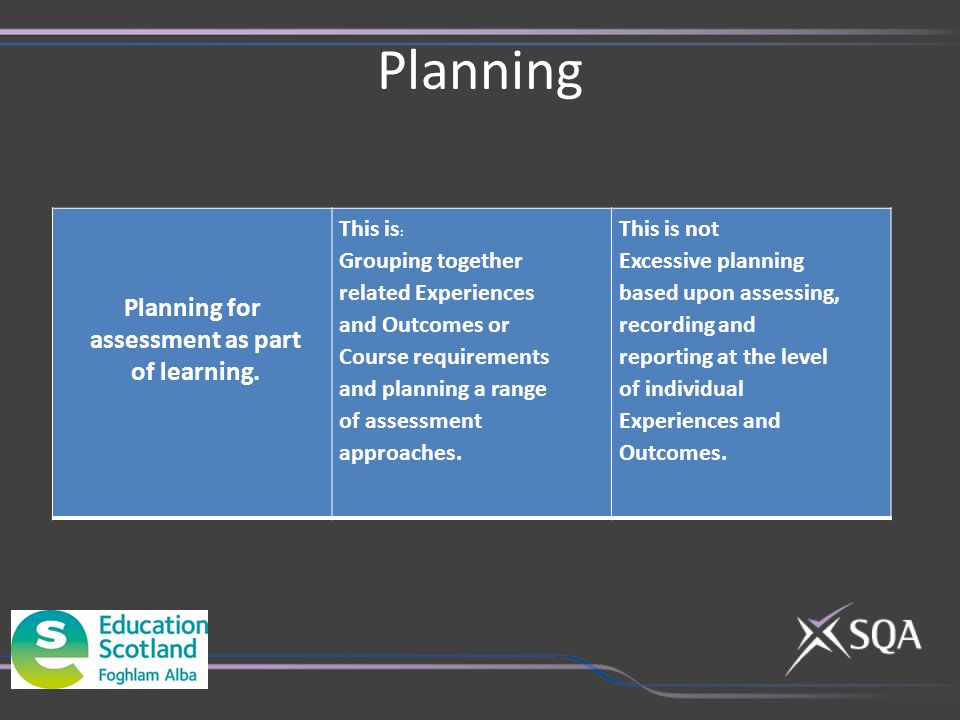 Planning Planning for assessment as part of learning. This is : Grouping together related Experiences and Outcomes or Course requirements and planning