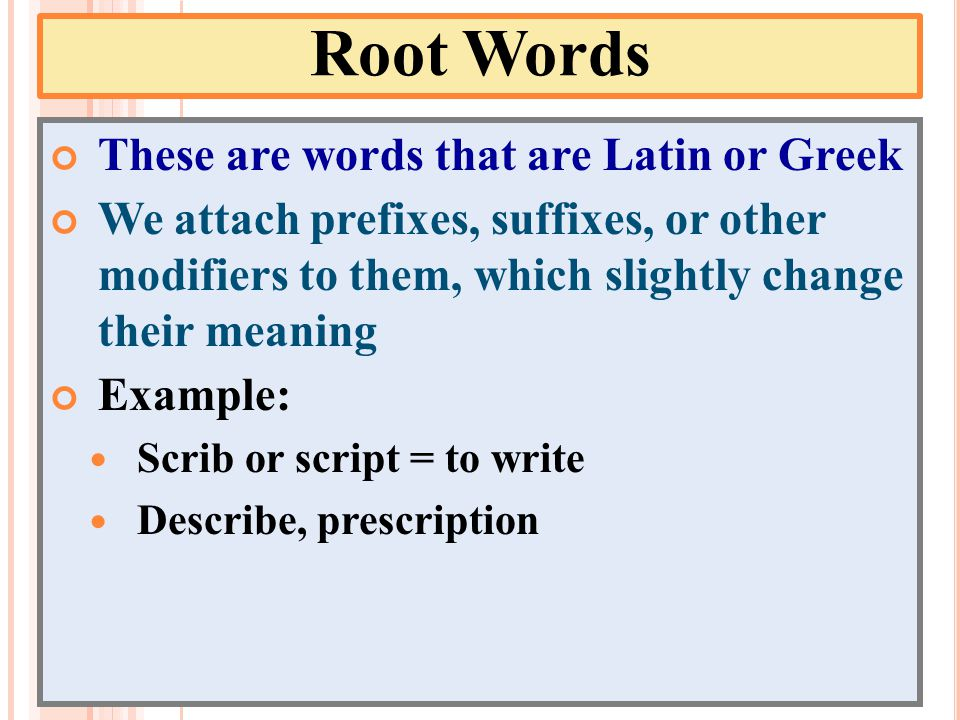 Root Words These are words that are Latin or Greek We attach prefixes, suffixes, or other modifiers to them, which slightly change their meaning Example: Scrib or script = to write Describe, prescription