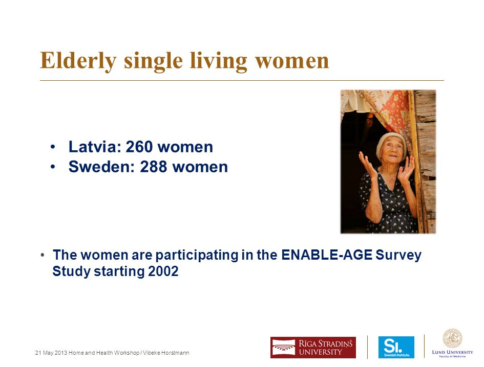 21 May 2013 Home and Health Workshop / Vibeke Horstmann The women are participating in the ENABLE-AGE Survey Study starting 2002 Elderly single living