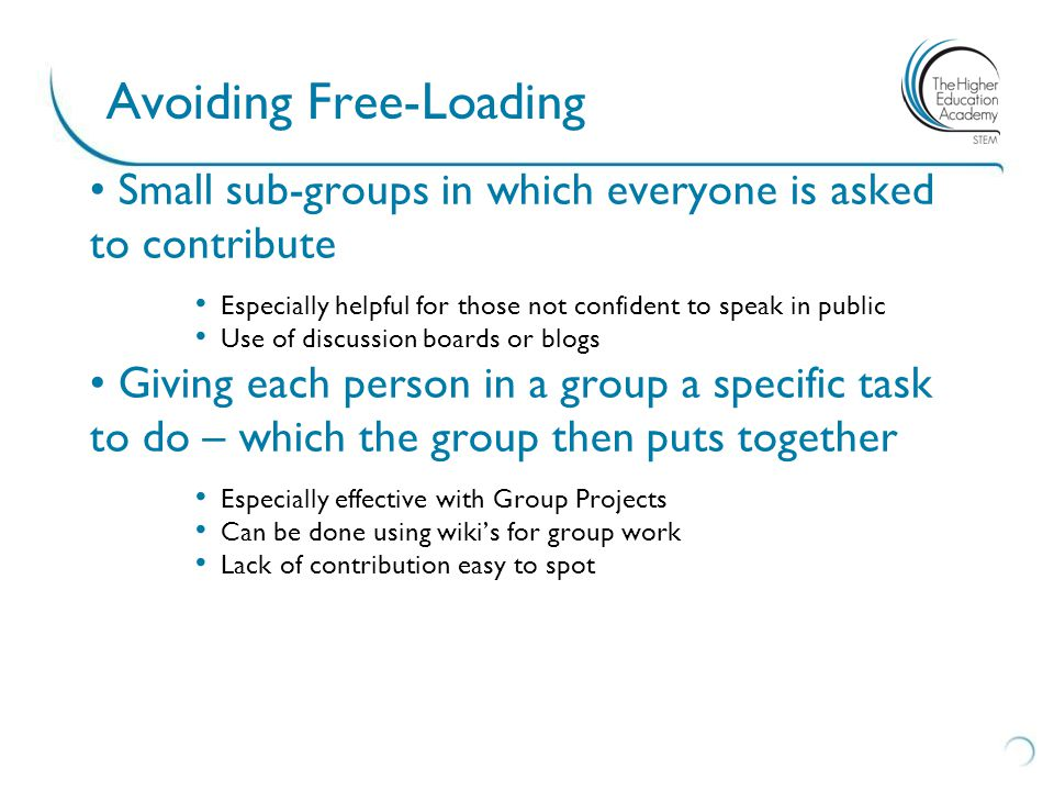 Avoiding Free-Loading Small sub-groups in which everyone is asked to contribute Especially helpful for those not confident to speak in public Use of discussion boards or blogs Giving each person in a group a specific task to do – which the group then puts together Especially effective with Group Projects Can be done using wiki's for group work Lack of contribution easy to spot