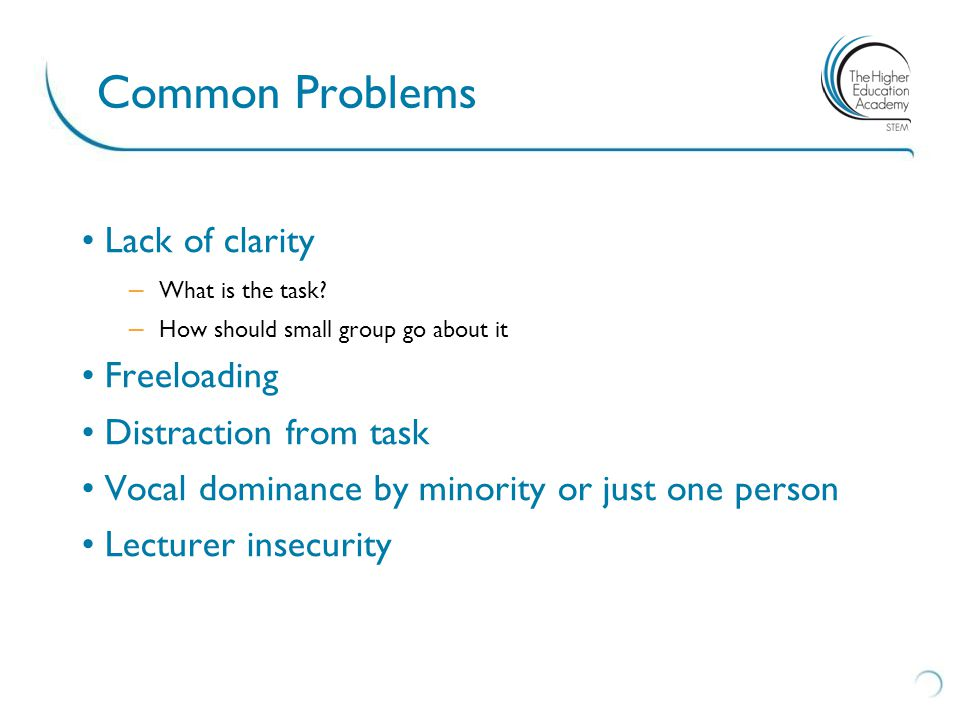 Common Problems Lack of clarity – What is the task.
