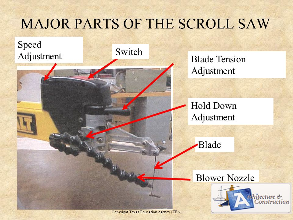 MAJOR PARTS OF THE SCROLL SAW Copyright Texas Education Agency (TEA) Speed Adjustment Switch Blade Tension Adjustment Hold Down Adjustment Blower Nozzle Blade 5