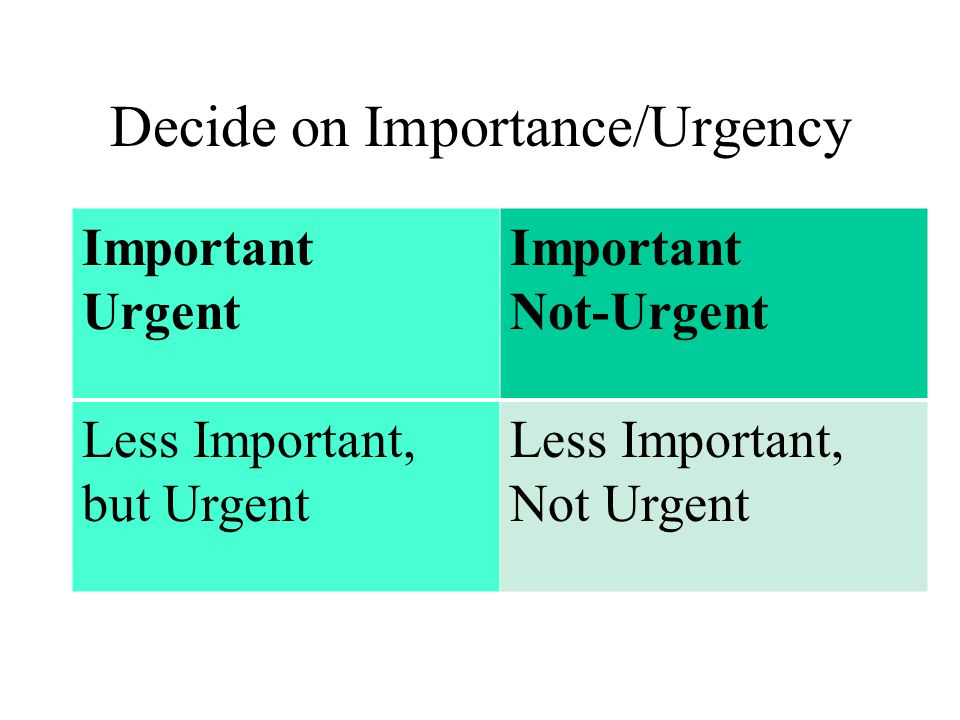 Decide on Importance/Urgency Important Urgent Important Not-Urgent Less Important, but Urgent Less Important, Not Urgent