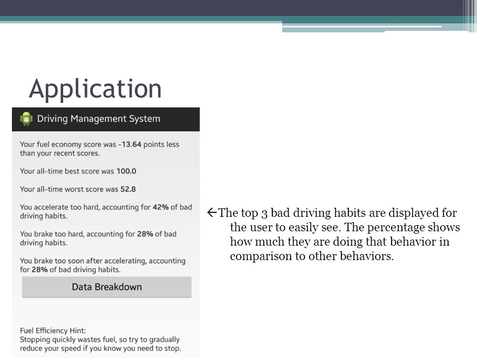 Application  The top 3 bad driving habits are displayed for the user to easily see.