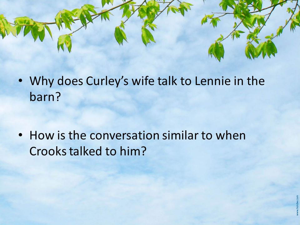 Why does Curley's wife talk to Lennie in the barn.