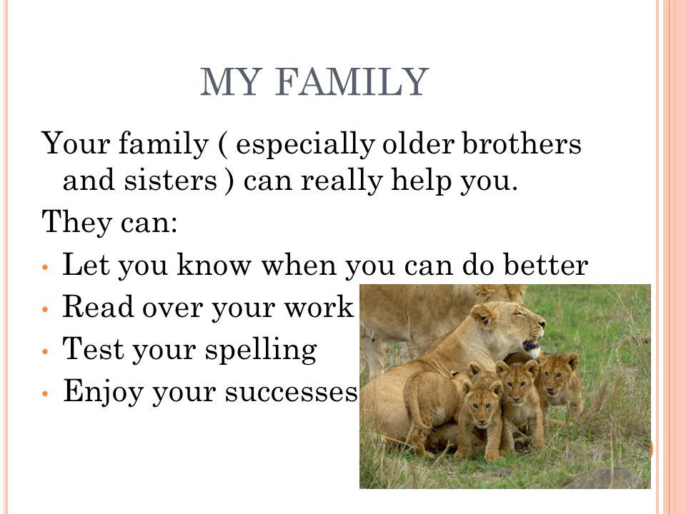 MY FAMILY Your family ( especially older brothers and sisters ) can really help you. They can: Let you know when you can do better Read over your work