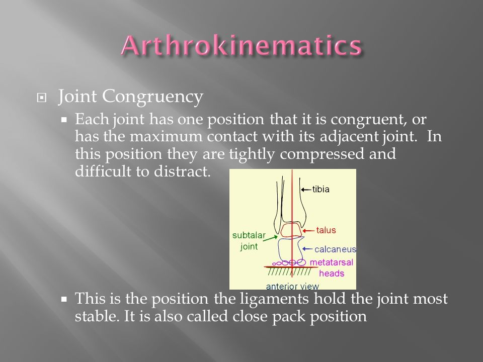  Joint Congruency  Each joint has one position that it is congruent, or has the maximum contact with its adjacent joint.