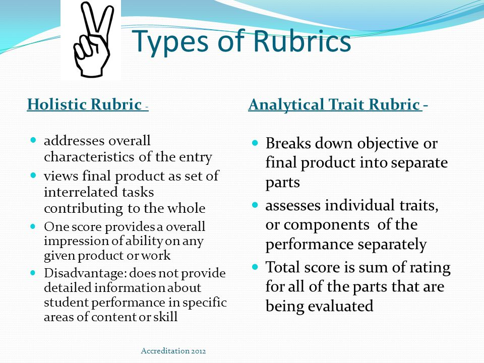 Parts of an Analytical Rubric Task Description (Outcome) Scales (Levels of Performance or Competency) Dimensions (Primary Traits of Evaluation/Criteria) Performance Descriptors (Qualifying Statements)