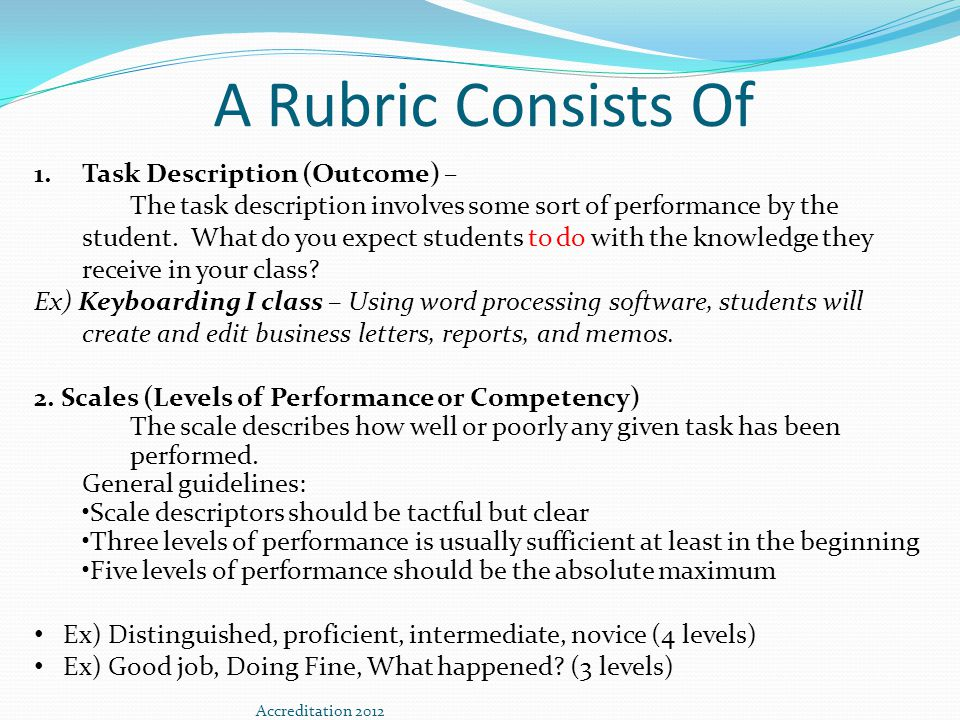 A Rubric Consists of…(cont) 3.Dimensions (Primary Traits of Evaluation/Criteria) describe the criteria that will be used to evaluate the work that students submit as evidence of their learning.