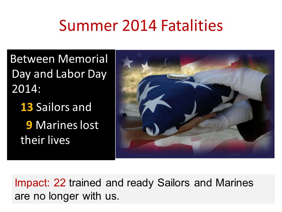 Summer 2014 Fatalities Between Memorial Day and Labor Day 2014: 13 Sailors and 9 Marines lost their lives Impact: 22 trained and ready Sailors and Marines are no longer with us.