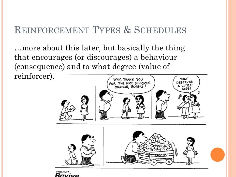 R EINFORCEMENT T YPES & S CHEDULES …more about this later, but basically the thing that encourages (or discourages) a behaviour (consequence) and to what degree (value of reinforcer).