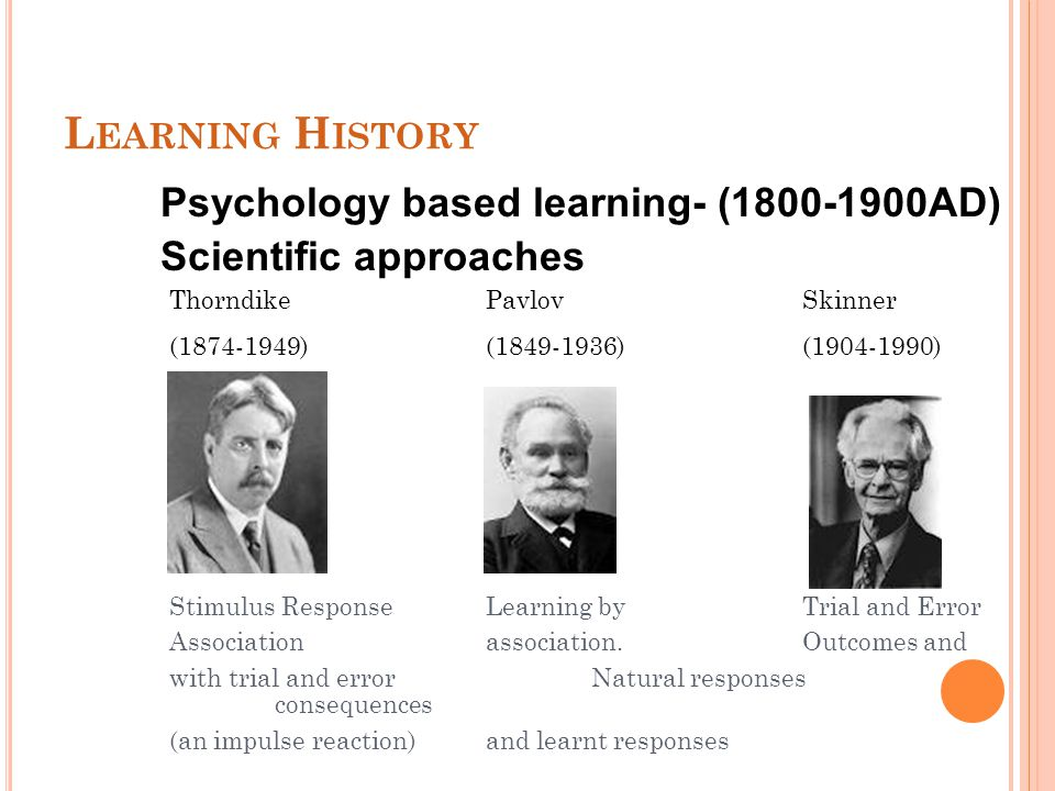 L EARNING H ISTORY Psychology based learning- (1800-1900AD) Scientific approaches Thorndike PavlovSkinner (1874-1949) (1849-1936) (1904-1990) Stimulus ResponseLearning by Trial and Error Associationassociation.