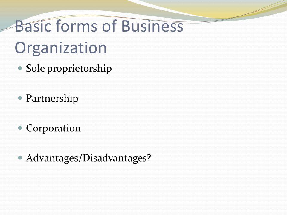 Basic forms of Business Organization Sole proprietorship Partnership Corporation Advantages/Disadvantages