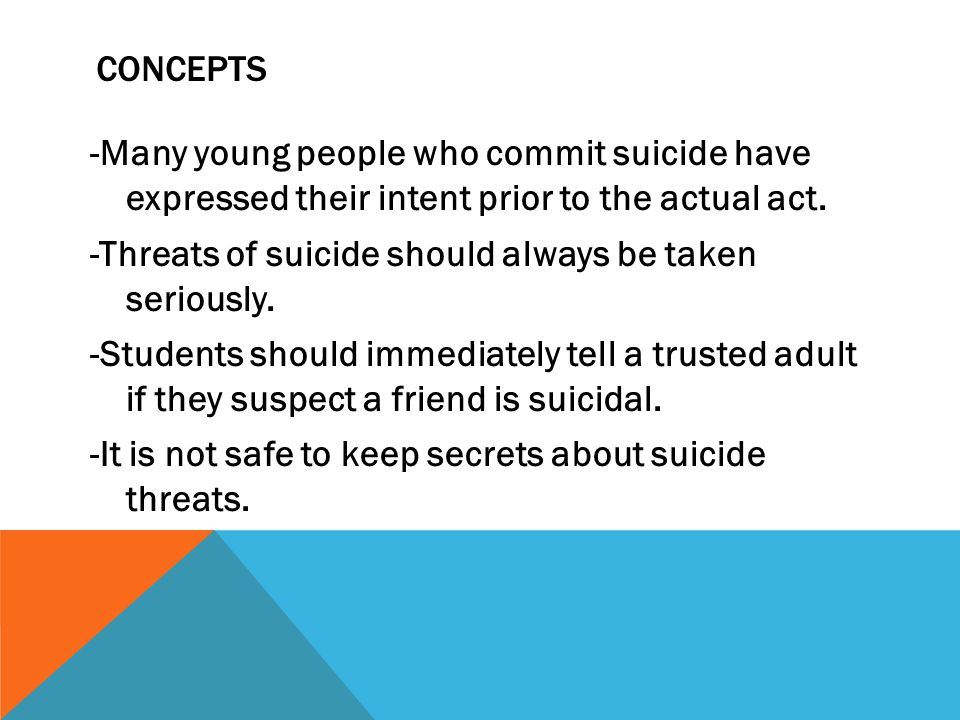 CONCEPTS -Many young people who commit suicide have expressed their intent prior to the actual act.