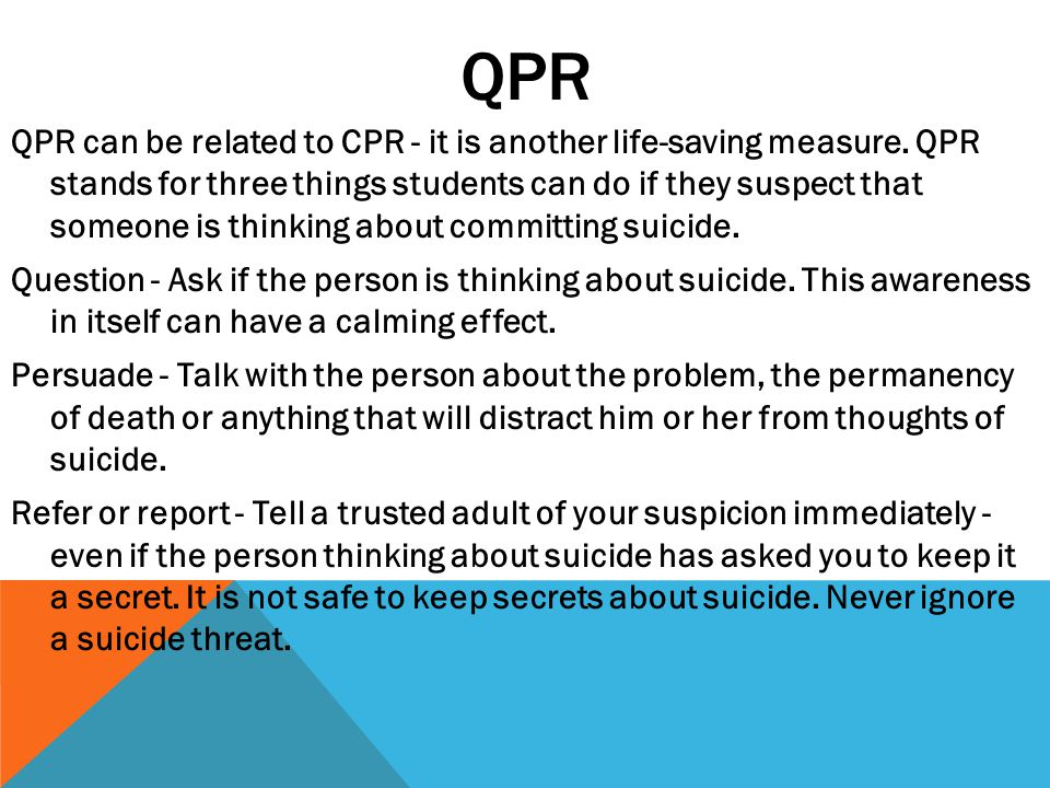 QPR QPR can be related to CPR - it is another life-saving measure.