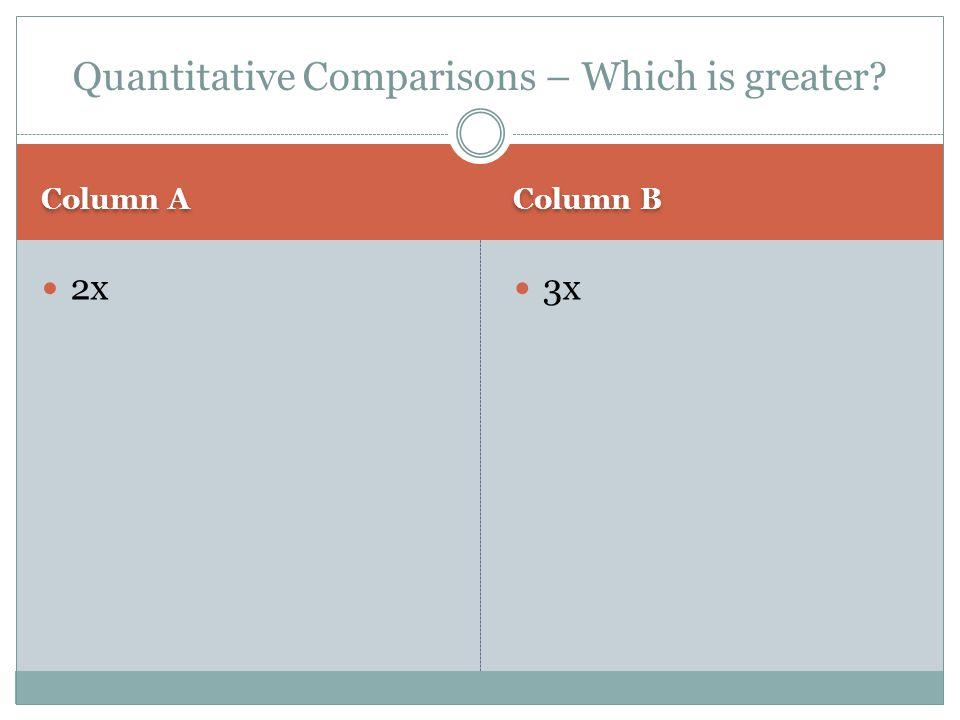Column A Column B 2x 3x Quantitative Comparisons – Which is greater