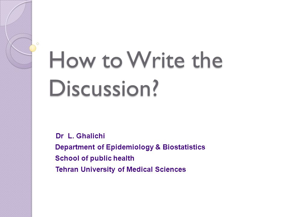 How to Write the Discussion. Dr L.