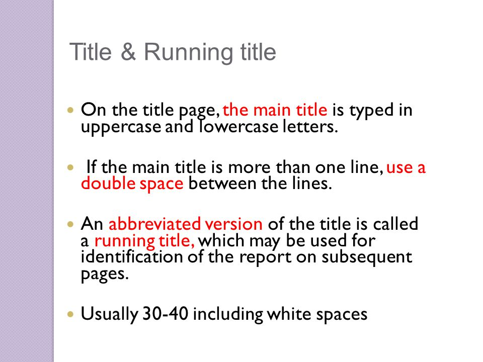 On the title page, the main title is typed in uppercase and lowercase letters.