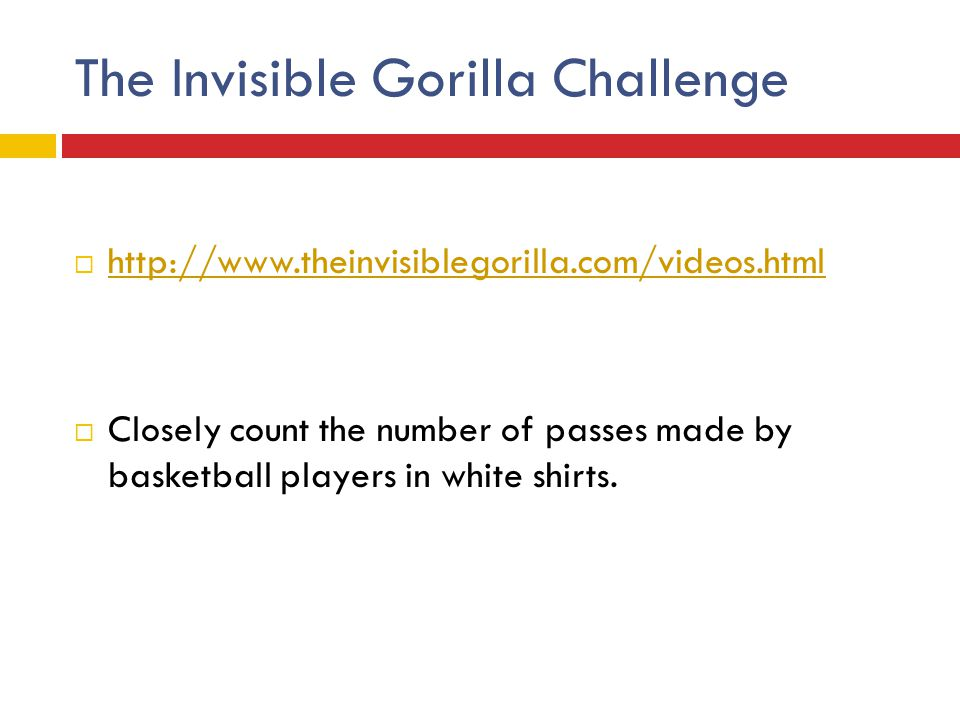 The Invisible Gorilla Challenge  http://www.theinvisiblegorilla.com/videos.html http://www.theinvisiblegorilla.com/videos.html  Closely count the nu